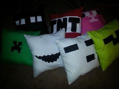 7 themed minecraft inspired pillows by Isewforu on Etsy