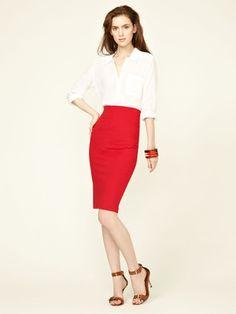 White + Warren Stretch Cotton Hourglass Skirt