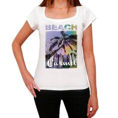 Carmel, Beach Name Palm, white, Women's Short Sleeve Rounded Neck T-shirt 00287