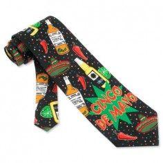 Cinco De Mayo Black Microfiber Tie Necktie – Men's Holiday Neck Tie