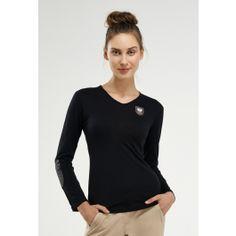 Merino Wool Vneck - Black - Long Sleeve - Polos & Tees | Quality Riding Apparel & Clothing