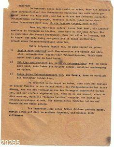 Løpeseddel som ble utdelt tyske soldater illegalt, om hvordan de skal forholde seg om de rømte til Sverige.