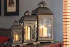 Set of 3 Metal Candle Lanterns - Bronze Pebble Lane Living