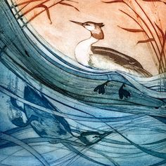 'Great Crested Grebes' By Painter and Printmaker Kerry Buck. Blank Art Cards By Green Pebble. www.greenpebble.co.uk