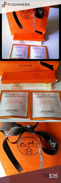 "💘Hermes Gift Set💘 You will receive everything in the pics! 6 items!  *Gift Bag with 25"" Ribbon  *Eau de mandarine ambree Hair & Body Shower Gel and Moisturizing Balm Face & Body, 7ml each   *Perfume Dabbers Paprika Brasil and Osmanthe Yunnan, 4 ml each Hermes Other"