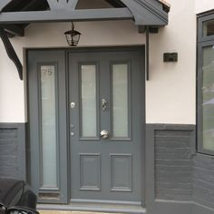 Grey Victorian door with obscure / frosted glazing and side panel. BESPOKE DOORS CLICK HERE