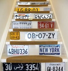 people do clever things with their stairways. so creative and visually interesting. number plates are crazy expensive now as are street signs. FOR OUR BASEMENT STAIRS