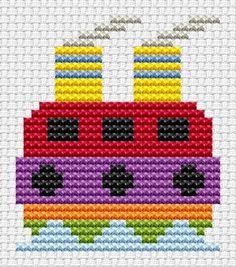 Sew Simple Tug Boat cross stitch kit from Fat Cat Cross Stitch at Busy Lizzie Crafts Cross Stitch For Kids, Cross Stitch Borders, Cross Stitch Baby, Cross Stitch Charts, Cross Stitch Patterns, Stitching On Paper, Cross Stitching, Cross Stitch Embroidery, Cross Stitch Tutorial