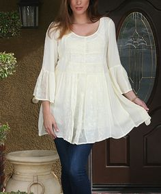 Anandas Collection Ivory Floral Bell-Sleeve Tunic | zulily