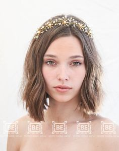 Elegant Crystal Daisy Star Pearl Two Row Headband Tiara Hair Accessory Hairband