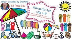 https://www.teacherspayteachers.com/Product/Summer-Clipart-1853822 53 piece set of clipart to get you ready for summer. :) Included:  Anchor - BW & Color Beach Ball - BW & Color Baseball Beach Umbrellas (3) - BW & Color Pink Bulb Border (as seen on cover) Crab - BW & Color Flip Flops (8) - BW & Color Flower - BW & Color Football Popsicles (8) - BW & Color Sun - BW & Color Swim Mask Swimsuits (13)  Tennis Ball Tennis Racquet Watermelon (3) - BW & Color