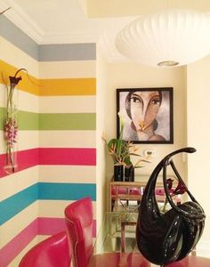 rainbow stripes - this would be cute for an accent wall in a kids room or playroom