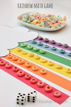 This looks like fun! Color the Rainbow with Fruit Loops ~ Addition Math Game