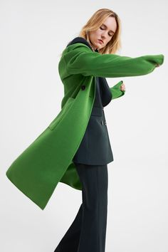 ABRIGO MASCULINO FLÚOR - Ver Todo-ABRIGOS-MUJER | ZARA Colombia Fast Fashion, Neon Green, Double Breasted, Contrast, Coat, Mango, Quotes, Women, Colombia