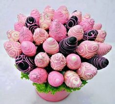 Chocolate covered strawberry bouquet in a pink pail.. great for mothers day or valentines day..or even showers