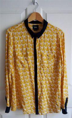 ANTHROPOLOGIE MAEVE sz 14 BAGATELLE HORSES yellow horse print button down blouse #Anthropologie #MaeveBlouse