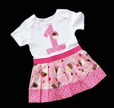 CUPCAKE Onesie Dress BIRTHDAY NUMBER by SnuggleBugBabyBoutiq, $27.00