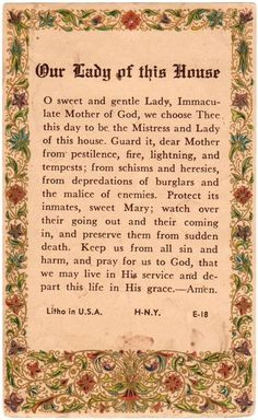 A prayer to our Lady to protect the house and its inhabitants
