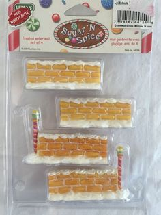 Sugar N Spice Frosted Wafer Wall Set of 4 Christmas Village New In Package Lemax