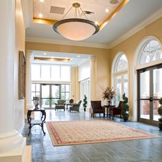 "The Bright Foyer, on a ""bright"" day, leading from the Bright ballrooms at left to the Glade Springs Conference Center's north entrance."