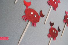 Sparkly Red CRAB Cupcake Toppers! $11.00 Great for Beach or Under the Sea themed parties! #kids #children #birthday #creative #ideas #littlemermaid #findingnemo #underthesea #ocean #beach #sea #wedding #shower #bridal #cupcake #topper #decor #decoration #party #company #picnic #prom #dessert #boy #girl #tropical #hawaii #swim #fishing #fisherman #crabbing #pool #aqua #foodpick #partypick