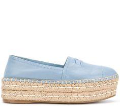 Prada slip-on platform espadrilles Designer Espadrilles, Color Combinations For Clothes, Closed Toe Sandals, Fabric Shoes, Shoes Uk, Summer Shoes, Moccasins, Designer Shoes, Prada