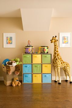 Toy Storage... swapping the baskets for different colors to match any room.