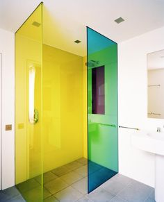 Rundell Associates, florescent glass shower doors, Remodelista