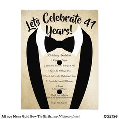 All age Mens Gold Bow Tie Birthday Party Invite