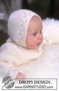 DROPS Baby - Jacket, pants/jumpsuit and hat in Baby-Merino - Free pattern by DROPS Design Baby Knitting Patterns, Knitting For Kids, Baby Patterns, Free Knitting, Crochet Patterns, Baby Bonnet Pattern Free, Free Pattern, Crochet Baby Pants, Drops Baby