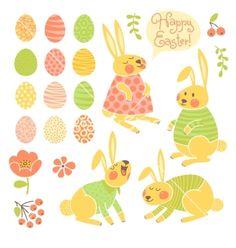 Set of elements for design happy easter. Bunnies and eggs vector by Baksiabat on VectorStock®