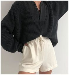 Women's Leopard Print Rib-Knit Cuff Crewneck Pullover Sweater - A New Day™ Heather Gray #black #trouser #shorts #outfit #blacktrousershortsoutfit Cute Casual Outfits, Short Outfits, Grunge Outfits, Fashion Outfits, Style Fashion, Fashion Ideas, Fashion Tips, High Waisted Shorts, Highwaisted Trousers