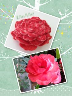 RED ROSE felted flower brooch pin of wool, handmade, hand painted, lavish adornment for clothes, hair, dress, coat, hat, scarf, belt by LanAArt on Etsy