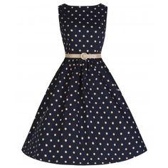 Audrey' Navy Polka Dot Swing Dress
