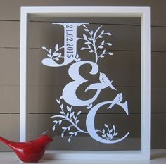 Personalised Couples Initials Valentines, Wedding or Anniversary Papercut by Dimple Lane