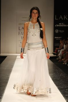 Silver and white lehenga with braid and bangles, Anita Dongre