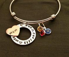 personalized mom bracelet expandable bangle bracelet by TiffysLove