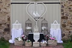 Some of our beautiful dove release baskets and cages!