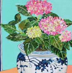 These pink hydrangeas are so much fun to paint! Flowers In Vase Painting, Hydrangea Painting, Floral Paintings, Art Flowers, Abstract Flowers, Flower Art, Watercolor Paintings, Spring Painting, Thai Art