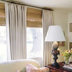 Curtains, blinds, valances and other window treatments are a big part of what makes an apartment a home. - Check Out THE IMAGE for Many Ideas for Curtains Window Treatments. Large Window Treatments, Kitchen Window Treatments, Large Window Coverings, Living Room Windows, My Living Room, Double Window Curtains, Blinds For Large Windows, Bamboo Shades, Custom Drapes