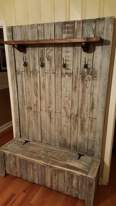 MC VESTIBULE. pallet wood hall tree - 90% pallet wood + few new 2x4s. After assembling apply an expresso stain (wipe off quickly) then minwax white wash pickling. The shelf is only stained.