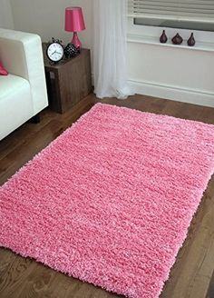 """Shaggy Rug Pink 963 Plain 5cm Thick Soft Pile 60cm x 110cm (2ft x 3ft 7"""") Modern 100% Berclon Twist Fibre Non-Shed Polyproylene Heat Set - AVAILABLE IN 6 SIZES by Quality Linen and Towels: Amazon.co.uk: Kitchen & Home"""