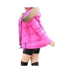Faux Fur Hooded  Down Coats (78 BAM) ❤ liked on Polyvore featuring plus size women's fashion, plus size clothing, plus size outerwear, plus size coats, rose, hooded down coat, pink hooded coat, down coat, pink down coat and pink coat
