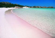 """La spiaggia rosa di Budelli in Sardegna. Si tratta di una """"perla"""" tutta italiana che forse non tutti conoscono. La spiaggia rosa dell'Isola di Budelli, nell'Arcipelago della Maddalena, a Nord-Est dellaSardegna, deve il suo colore da sogno alla ricchezza di frammenti di corallo, conchiglie, gusci di molluschi e piccolissimi pezzetto di granito. La spiaggia si trova all'interno di un'area protetta e la si può visitare soltanto se accompagnati dalle guide del parco."""