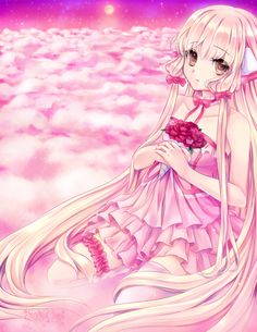 (Closed RP) I stare into the pink sky, still amazed at how the night sky looked above the stars. The cliff I was on had gone very high. The pink clouds looked like cotton candy. Then I hear someone behind me. Chobits Anime, Anime Maid, Old Anime, Pink Sky, Pink Clouds, Sakura Haruno, Anime Shows, Beautiful Artwork, Online Art Gallery