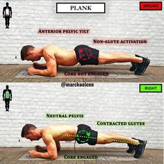Do you have control over your hips? When someone executes a plank, you often see that the pelvis is tilted forward, the buttocks are above the knees and ribs. This is wrong! Your hip flexors and your lower back mainly work here in a shortened position. With the execution of a plank you want to teach yourself to be able to hold a neutral vertebral position. This can be very important for the deadlift, for example. Therefore, try to visualize yourself getting your body