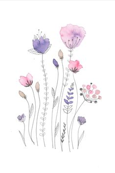 Watercolor And Ink, Watercolour Painting, Watercolor Flowers, Painting & Drawing, Watercolours, Watercolor Paintings For Beginners, Happy Paintings, Doodle Art, Flower Art