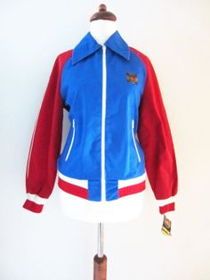 NOS Finlayson Sports Jacket in Blue and Red w/ Original Tags, XS-S // Vintage Sport Lassie Soccer Jacket Textile Company, Vintage Sport, Orange Jacket, Almost Always, Sports Jacket, Finland, Motorcycle Jacket, Light Blue, Soccer