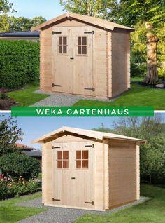 Gartenhaus kleiner Garten: Das WEKA Gartenhaus 125 ist in zwei verschiedenen Größen erhältlich, sodass es sicherlich auch in Ihren Garten passt. Im Inneren können Sie Gartengeräte & Co. verstauen oder sich einen kleinen und gemütlichen Rückzugsort einrichten. Sichern Sie sich jetzt dieses vielseitig nutzbare Gartenhaus!  #Gartenhaus #Gerätehaus #Holzhaus Exterior Paint, Storage Spaces, Home Improvement, Shed, Home And Garden, Outdoor Structures, House, Garage, House Shingles