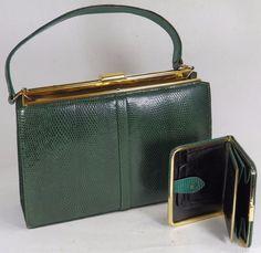 Vintage Green Leather Handbag W Matching Purse Lightstone Hubbard For Jonelle